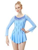 abordables -Robe de Patinage Artistique Femme / Fille Patinage Robes Bleu Ciel Spandex Haute élasticité Professionnel Tenue de Patinage Mode Manches Longues Patinage sur glace / Sports d'hiver / Patinage