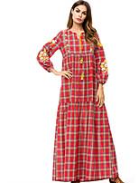 baratos -Mulheres Abaya Vestido Xadrez Longo