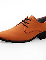 Недорогие -Муж. Официальная обувь Синтетика Наступила зима Деловые / Английский Туфли на шнуровке Дышащий Кофейный / Красный / Темно-русый