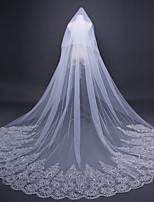 baratos -Uma Camada Estilo vintage / Floral Véus de Noiva Véu Capela com Apliques / Cor Única / Lantejoula 118,11 em (300 centímetros) Renda / Tule