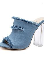 Недорогие -Жен. Балетки Деним Весна & осень На каждый день Обувь на каблуках Блочная пятка Открытый мыс Черный / Синий