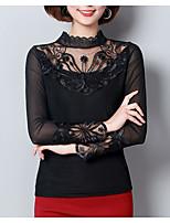 baratos -Mulheres Blusa Renda / Com Corte / Patchwork, Sólido
