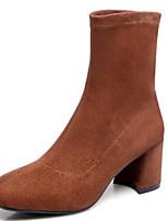 Недорогие -Жен. Fashion Boots Замша Осень Ботинки На толстом каблуке Закрытый мыс Ботинки Черный / Серый / Темно-коричневый