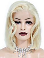 Недорогие -Натуральные волосы Лента спереди Парик Бразильские волосы / Бирманские волосы Волнистый Парик Стрижка боб 130% Женский / Лучшее качество / Горячая распродажа Жен. Короткие