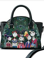 baratos -Mulheres Bolsas PU Bolsa de Ombro Estampa Desenho Animado Verde