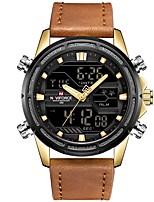 Недорогие -NAVIFORCE Муж. Спортивные часы Японский Японский кварц 30 m Защита от влаги Календарь Фосфоресцирующий Натуральная кожа Группа Аналого-цифровые На каждый день Мода Черный / Коричневый -