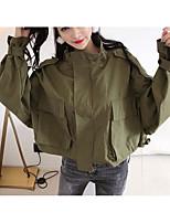 baratos -Mulheres Jaqueta Para Noite Sólido Colarinho Chinês