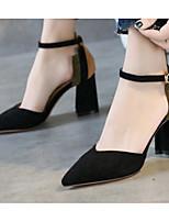 Недорогие -Жен. Комфортная обувь Замша Весна Обувь на каблуках На толстом каблуке Черный / Бежевый