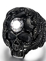 cheap -Men's 3D Ring - Titanium Steel, Imitation Diamond Skull Punk 8 / 9 Black For Street