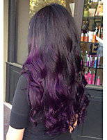 Недорогие -Remy Лента спереди Парик Перуанские волосы Естественные кудри Парик 150% Природные волосы / С отбеленными узлами Жен. Длинные Парики из натуральных волос на кружевной основе