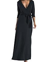 abordables -Femme Rétro Maxi Balançoire Robe Couleur Pleine V Profond Noir Rouge Vert Véronèse M L XL Manches 3/4