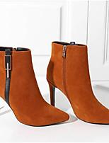 Недорогие -Жен. Fashion Boots Замша Осень Ботинки На шпильке Закрытый мыс Ботинки Черный / Коричневый