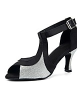 baratos -Mulheres Sapatos de Dança Latina Renda / Cetim Sandália / Salto Purpurina / Recortes Salto Carretel Personalizável Sapatos de Dança Prata / Black