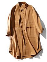 cheap -Women's Trench Coat - Solid Colored Stand