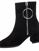 Недорогие -Жен. Fashion Boots Полиуретан Осень Ботинки Блочная пятка Круглый носок Сапоги до середины икры Черный