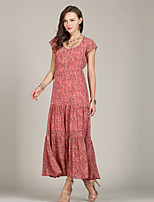 preiswerte -Damen Boho / Street Schick Swing / Abaya / Kaftan Kleid - Gefaltet, Punkt Maxi