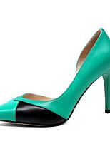 Недорогие -Жен. Комфортная обувь Наппа Leather Весна Обувь на каблуках На шпильке Бежевый / Зеленый