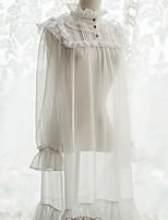 economico -Dolce Ricamo See Through Elegante Pizzo Per femmina Vestiti Cosplay Bianco Manica Flare Manica lunga Midi Costumi Halloween