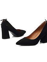 Недорогие -Жен. Балетки Замша Весна Обувь на каблуках На толстом каблуке Черный