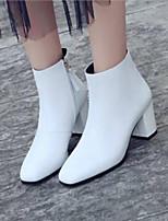 Недорогие -Жен. Fashion Boots Наппа Leather Зима Ботинки На толстом каблуке Закрытый мыс Ботинки Белый / Черный