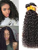 Недорогие -3 Связки Индийские волосы / Вьетнамские волосы Kinky Curly Натуральные волосы / Необработанные натуральные волосы Подарки / Косплей Костюмы / Человека ткет Волосы 8-28 дюймовый Естественный цвет