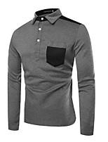 baratos -Homens Polo Estampa Colorida Algodão Colarinho de Camisa / Manga Longa
