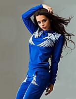 Недорогие -Жен. Вырез под горло Сексуальные платья 2pcs Футболка и брюки для бега - Черный, Синий, Серый Виды спорта Цветочные / ботанический Спортивный костюм Фитнес, Для спортивного зала, Разрабатывать