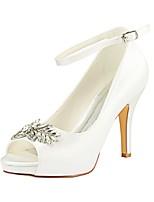 abordables -Femme Escarpins Satin Printemps été Chaussures de mariage Talon Aiguille Bout ouvert Strass Ivoire / Mariage / Soirée & Evénement