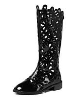 Недорогие -Жен. Комфортная обувь Наппа Leather Лето Ботинки На плоской подошве Сапоги до колена Черный