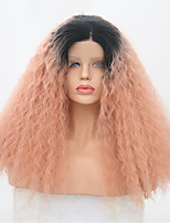 Недорогие -Синтетические кружевные передние парики Kinky Curly / Сенегал Розовый Средняя часть Искусственные волосы 22 дюймовый Регулируется / Жаропрочная / Для вечеринок Розовый Парик Жен. Длинные Лента спереди
