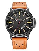 Недорогие -Муж. Спортивные часы Японский Японский кварц 30 m Защита от влаги Календарь Повседневные часы Кожа Группа Аналоговый На каждый день Мода Черный / Коричневый - Черный Черный / коричневый