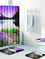 Недорогие -3 предмета Modern Коврики для ванны 100 г / м2 полиэфирный стреч-трикотаж Новинки / Цветочный принт Прямоугольная Ванная комната Милый