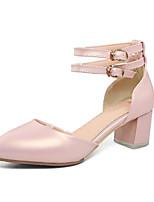 Недорогие -Жен. Комфортная обувь Полиуретан Лето Обувь на каблуках На толстом каблуке Белый / Серебряный / Розовый