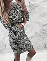 baratos -Mulheres Básico Bainha Vestido - Estampado, Leopardo Acima do Joelho Floco de Neve