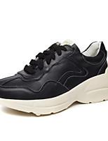 baratos -Mulheres Sapatos Confortáveis Pele Napa Primavera Tênis Salto Baixo Ponta quadrada Branco / Preto / Rosa claro