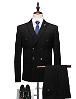 cheap -Tuxedos Tailored Fit Peak Double Breasted Four-buttons Polyester Striped
