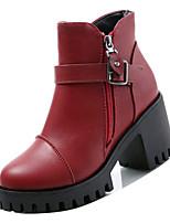 Недорогие -Жен. Fashion Boots Полиуретан Зима На каждый день Ботинки На толстом каблуке Сапоги до середины икры Черный / Серый / Красный