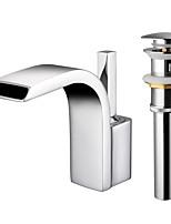 Недорогие -Ванная раковина кран - Водопад Хром Настольная установка Одной ручкой Два отверстия