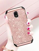 billiga -fodral Till Samsung Galaxy J3 Emerge Stötsäker / Plätering / Glittrig Skal Enfärgad / Glittrig Hårt PU läder / TPU / PC för J3 (2018)