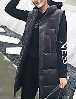 Недорогие -Жен. Повседневные Однотонный Обычная На подкладке, Плюш Без рукавов Хомут Черный / Темно синий / Серый S / M / L