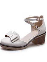 Недорогие -Жен. Комфортная обувь Полиуретан Весна Обувь на каблуках На толстом каблуке Белый / Розовый / Миндальный