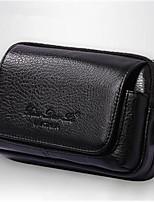 Недорогие -Муж. Мешки Кожа Мобильный телефон сумка Сплошной цвет Черный / Кофейный