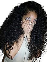 Недорогие -Remy Полностью ленточные Лента спереди Парик Бразильские волосы Кудрявый Афро Квинки Парик Ассиметричная стрижка 130% 150% 180% Плотность волос Мягкость Женский Легко туалетный Нейтральный Черный Жен.