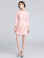 Недорогие -Жен. Винтаж / Шинуазери (китайский стиль) А-силуэт Платье - Цветочный принт, Вышивка Выше колена