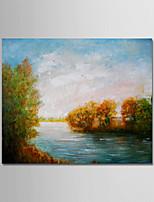 abordables -Peinture à l'huile Hang-peint Peint à la main - Abstrait / Paysage Moderne Toile