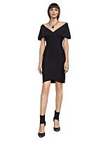 Недорогие -Футляр V-образный вырез До колена Спандекс Платье с Узоры / принт от LAN TING Express
