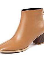 Недорогие -Жен. Fashion Boots Наппа Leather Зима Ботинки На толстом каблуке Закрытый мыс Ботинки Черный / Бежевый / Коричневый