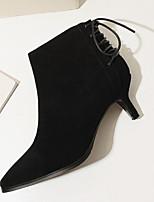 Недорогие -Жен. Fashion Boots Замша Осень Ботинки На шпильке Закрытый мыс Ботинки Черный / Миндальный