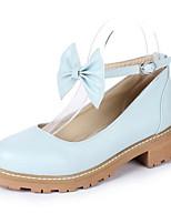 Недорогие -Жен. Комфортная обувь Полиуретан Лето Обувь на каблуках На толстом каблуке Синий / Розовый / Миндальный