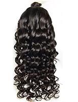 Недорогие -человеческие волосы Remy Полностью ленточные Парик Бразильские волосы Свободные волны Черный Парик Стрижка каскад 130% Плотность волос / Природные волосы / Необработанные / 100% ручная работа